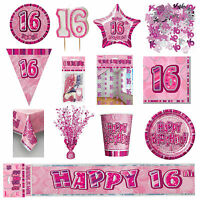 Glitz Pink 16th Birthday Party Tableware Decoration Plates Banners Candle Age 16