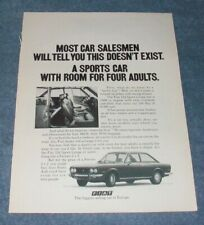 """1971 Fiat 124 Sport Coupe Vintage Ad """"Most Car Salesmen Will Tell You..."""""""