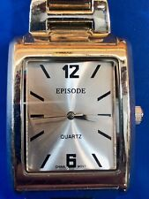 episode mens formal silver tone watch - 32463  with new battery - working well