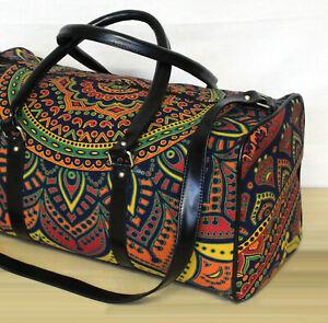 Cotton Duffel Bag Gym Sports Bag Travel Bags Multi Floral Mandala Unisex Handbag