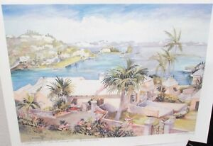 "CAROLE HOLDING ""WATERLOT"" SOUTHAMPTON BERMUDA HAND SIGNED IN PENCIL LITHOGRAPH"