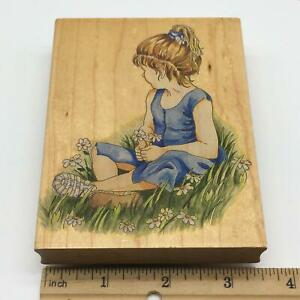Girl With Daisies Large Rubber Stamp by Stamps Happen