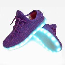 Unisex Purple LED Light Up Shoes Sportwear USB Sneakers Kids Men Women Adult