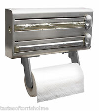 MASTERCLASS STAINLESS STEEL CLING FILM, KITCHEN ROLL, FOIL & TOWEL DISPENSER