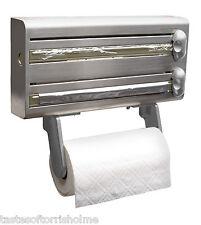 Homebase Stainless Steel 3in1 Dispenser Cling Film Foil & Kitchen Roll Holder