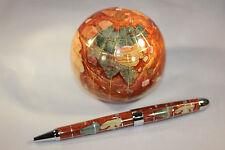 Genuine Multi-Gemstone Globe Paper Weight & Pen Executive Desk Set - Copper