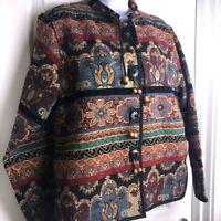 Vintage Flashback Multi-Colored Tapestry Jacket Sz M Autumn Boho Pockets Retro
