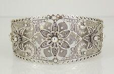 Vintage DGS 925 Sterling Silver Filigree Floral Cuff Bracelet