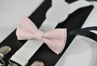 BABY BOY KIDS WHITE Braces Suspenders Bowtie PINK Bow Tie 1-8 Years Old
