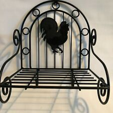 Wall Shelf Metal Rooster with Coat Hooks Black Rustic Farmhouse Chickens