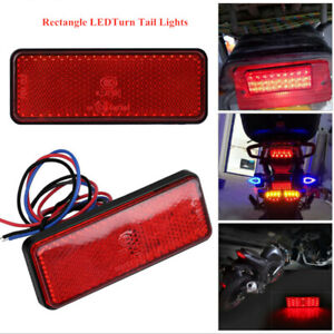 Red Rectangle LED Reflector Brake Stop Running Light Motocycle Turn Tail Lights