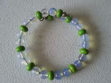HANDMADE SILVER PLATED GREEN DYED TURQUOISE AND OPALITE BRACELET FREE SIZE