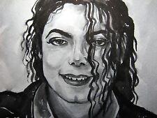 Black & White Watercolor Michael Jackson Music Song Pop King Collectible Art 5x7