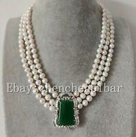 edelste 3 reihige weiße Süßwasserperle 18 KGP Jade Anhänger Halskette 18-20 Zoll
