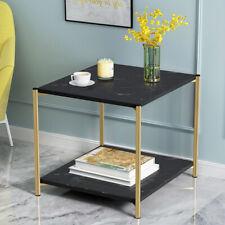 2 Tier Sofa Coffee Side Table End Table Square Storage Shelf Living Room Black