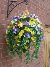 Large Hanging Baskets With Artificial Flowers - L15