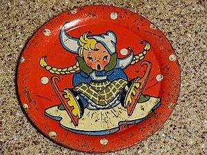 "1947 Ohio Art tin-litho toy tea set plate dish E.E. Hileman ""Winter Wonderland"""