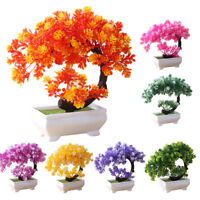 JW_ Simulation Fake Potted Bonsai Tree Artificial Plant Ornament Home Decor Re