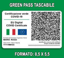 Stampa il tuo GREEN PASS personalizzato, Card in PVC tessera GREENPASS+CUSTODIA