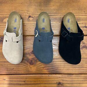 Birkenstock Boston Clogs Sandals NUDE Leather Suede 1021270 44eu 9.5uk 11us