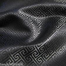 BLACK WIND SWIRL BROCADE FAUX SILK SHANTUNG FABRIC 4 DRESS BLOUSE ORIENTAL