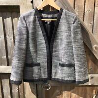 Pringle of Scotland Black & Silver Metallic Tweed Open Front Jacket Size 12 VGC