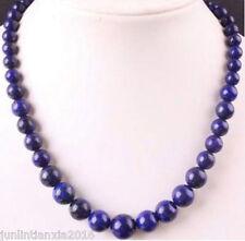 "6-14mm Dark Blue Egyptian Lapis Lazuli Gemstone Round Beads Necklace 18"""