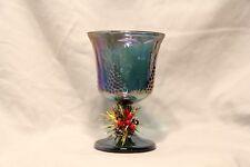 Vintage Blue Iridescent Indiana Carnival Glass Harvest Grape Footed Goblet