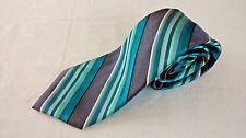 Arrow Stripe Grey Teal 100% silk Designer neck Tie Classic 60 x 3.25