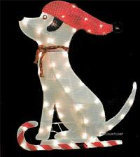 """36"""" GLISTENING TINSEL FABRIC DOG LIGHTED OUTDOOR CHRISTMAS DECORATION NEW"""