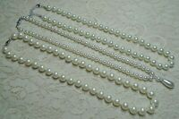 WHITE FAUX PEARL LUCITE & GLASS BEADED NECKLACE LOT