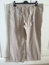 "BHS Stone/Beige Wide Leg Stripe Linen Cotton Trousers Sz 18 L29"" RRP £22"