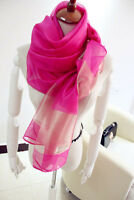 "BEAUTIFUL WOMEN'S 100% silk Scarf Shawl Wrap 27x64"" Handmade Large rose pink"