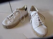WOMENS THE SHOE BOX WHITE/NAVY BLUE LEATHER/STRAW PLATFORM SNEAKERS - SIZE 9