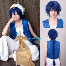 Magi The Labyrinth of Magic Aladdin Long Blue Braids Anime Cosplay Hair Full Wig