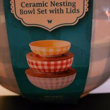 Pioneer Woman Gingham Ceramic Nesting Bowl Set With Lids Sweet Romance