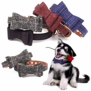 Dog Collar Tartan Plaid BowKnot Bow Tie Adjustable Pet Puppy Cat Collars UK Stoc