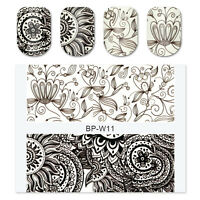 BORN PRETTY 2sheets Black White Flower Nail Art Water Decals Transfer Sticker