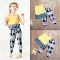 Toddler Kids Baby Girls Clothes Sets Tassels Vest T-shirt +Pants Summer Outfits