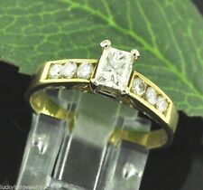 Engagement Natural Diamond Ring Emerald Cut 0.85 ct 18k Solid Yellow Gold Ladies