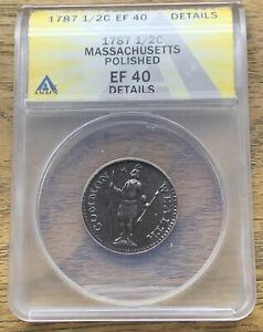 1787 Massachusetts Half Cent ANACS EF40 Polished