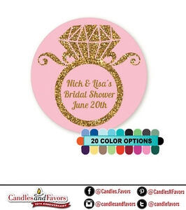 Engagement Ring Glitter Round Personalized Bridal Shower/Wedding Sticker Labels