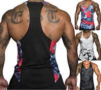 Mens Gym Vest Racerback Bodybuilding Muscle Stringer Plain Tank Top Fitness