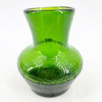 "VTG SMALL Hand Blown Art Glass Vase Green Crackle Glass Design 4.25"" Mid Century"