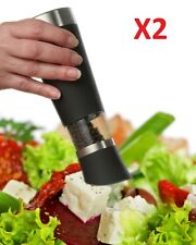Automatic Electric Salt or Pepper Grinder Mill - 2pcs with Adjustable Coarseness