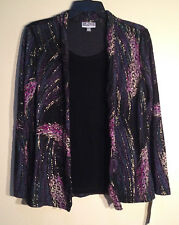 JM Collection Petite Printed Layered Top 82829 Feather Strokes PM           NEW
