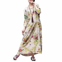Casual Flower Design Dress Bohemian Style Ankle Length Long Sleeves Maxi Dresses