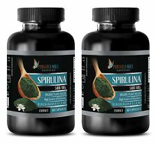 Chlorella Spirulina Tablets - PURE SPIRULINA 500mg High In Bio-Available Iron 2B