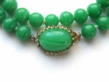 Vintage HOBE Hand Knotted Green Jade ART GLASS Necklace