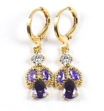 Women's 18 Carat Gold Plated Purple Crystal Huggie Dangle Earrings Jewellery